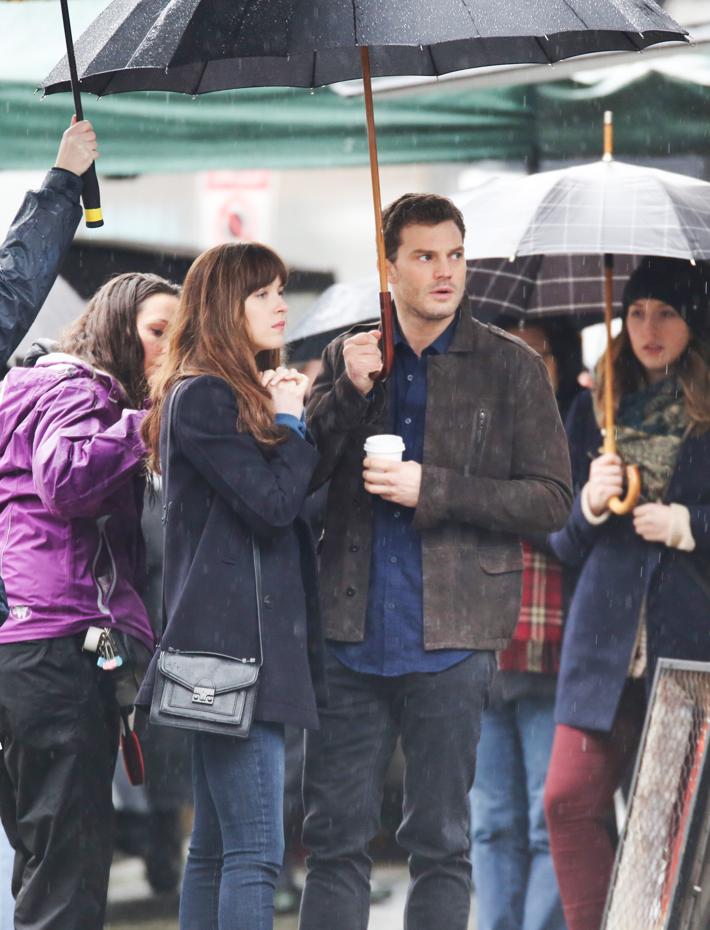 "51989683 Celebrities on the set of ""Fifty Shades Darker' in Vancouver, Canada on March 7, 2016. Celebrities on the set of ""Fifty Shades Darker' in Vancouver, Canada on March 7, 2016. Pictured: Jamie Dornan, Dakota Johnson FameFlynet, Inc - Beverly Hills, CA, USA - +1 (310) 505-9876"