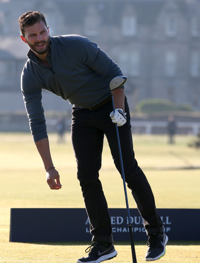 Golf - Alfred Dunhill Links Championship - Day One - Old Course St Andrews. Jamie Dornan during day one of the Alfred Dunhill Links Championship at Old Course St Andrews, Fife. Picture date: Thursday October 1, 2015. See PA story GOLF Dunhill. Photo credit should read: Andrew Milligan/PA Wire. RESTRICTIONS Editorial use only. No commercial use. No false commercial association. No video emulation. No manipulation of images. URN:24297262